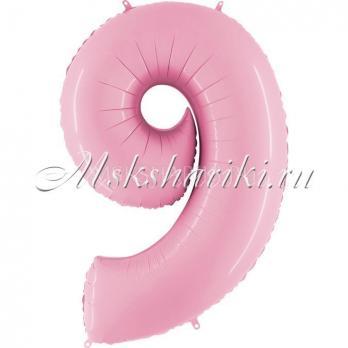 """Шар """"Цифра 9"""" Розовая пастель"""