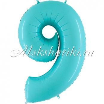 """Шар """"Цифра 9"""" Голубая пастель"""
