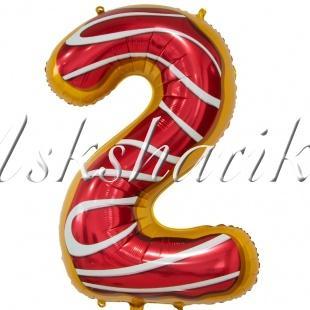 Шар фольга (34''/86 см) Цифра, 2 Пончик